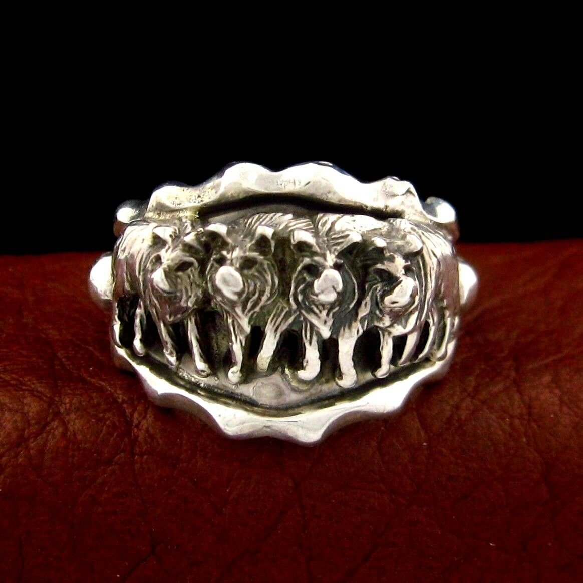 Sterling Silver Men's Wolf Pack Ring With Great Detail - ...