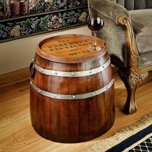 Unique FRENCH WINE BARREL WOOD METAL END TABLE Bar Cocktail Man Cave Tuscan Art
