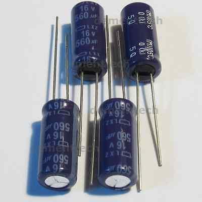 4x Nippon Lxz 560uf 16v Low-esr Radial Capacitors Caps 105c 8mm 8x20 Reliable