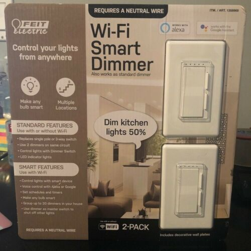 Feit Electric Wi-Fi Smart Dimmer 2-Pack ~ Works with Alexa and Google Assistant