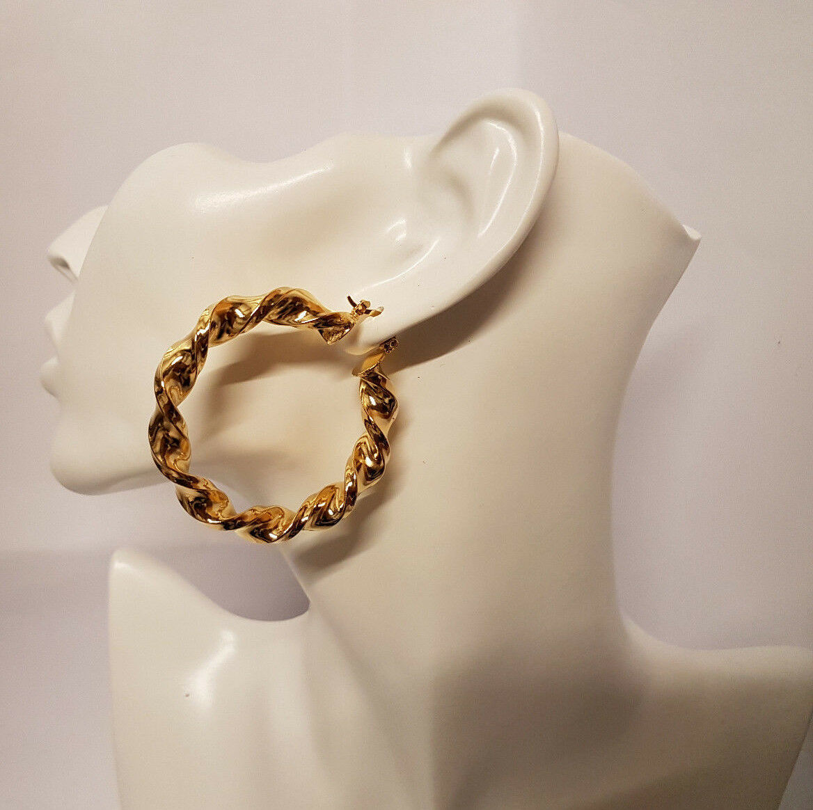 Details zu Twisted Large Big 9ct Gold Plated Hoop Earrings Large Circle Creole Chic Hoops