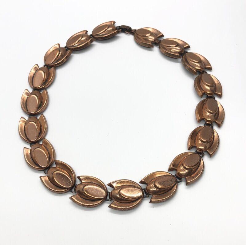 """Vintage Necklace 15"""" Renoir Signed Modernist Copper Flower"""