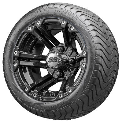 """12"""" RHOX RX331 Black Golf Cart Wheels and Low Profile Tires"""