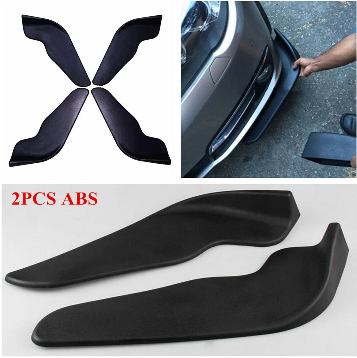 Car Parts - 2 Pcs Car Vehicle Bumper Spoiler Front Shovel Decorative Scratch Resistant Wing