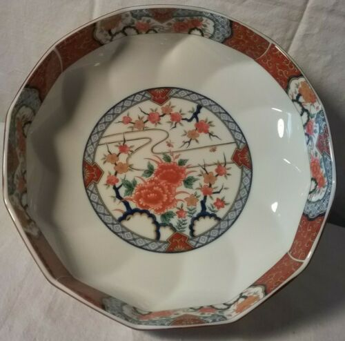 """Vintage Japanese Pottery Signed Imari Concel 10 1/4 """" High by 2 3/4 """" Wide Bowl"""