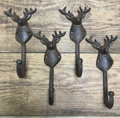 4 Coat Hooks Hat Wall Deer Antler rustic cast iron hanger Hunting Lodge