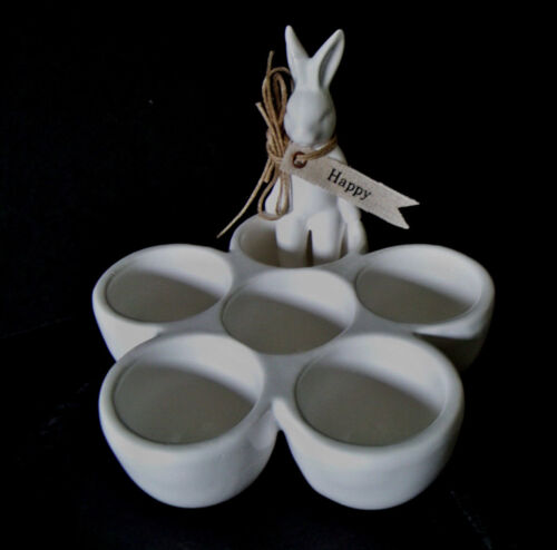 New MUD PIE BUNNY EGG CUP White Easter Spring Rabbit CERAMIC