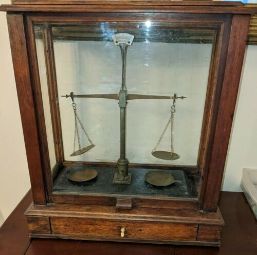 Antique Henry Troemner Gold Scale Wood and Glass Cabinet rare!
