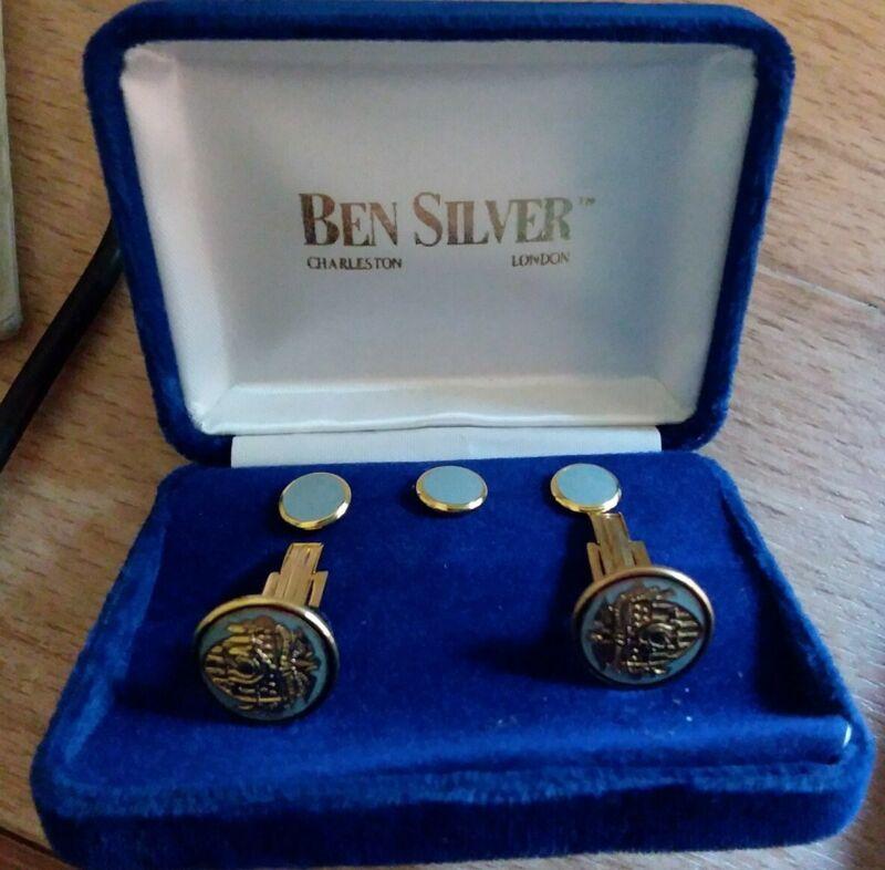 Vintage U.S.M.A. West Point Ben Silver Cufflink And Tux Button Stud Set Rare