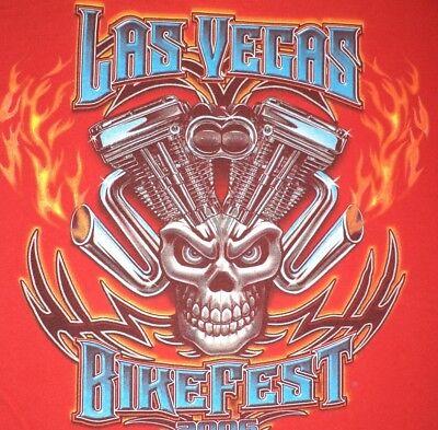 BIKE FEST 2006 T Shirt L Red LAS VEGAS NV Nevada PIPE SKULL Short Sleeve COTTON