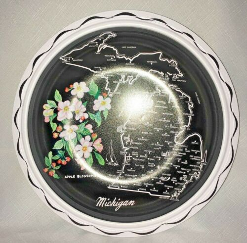 Vintage Michigan souvenir black tin bowl with state outline and rose blossoms