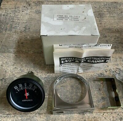 Analog Meter Ammeter - 60 Amp With Bracket And Chrome Bezel For Universal Car