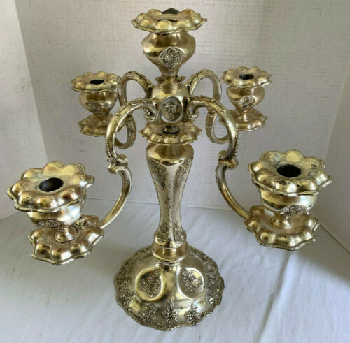 Vtg 4 Arm 5 Candle Piano Candelabra Silverplate Grapevine Pattern Regency 18""