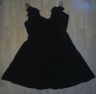SMALL BLACK A-LINE STRAPPY PARTY MINI DRESS WITH FEATHER/WING DETAIL TO BACK - Party Dress With Feathers