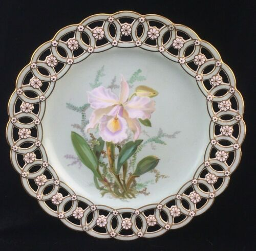 Antique Minton Porcelain Reticulated Plate Cattleya Warscewiczii Orchid