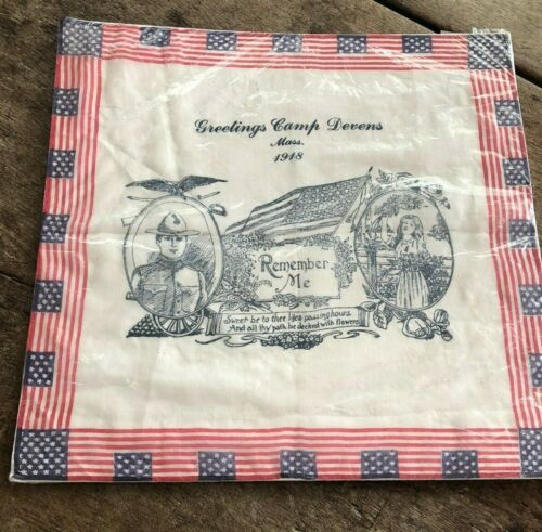 Camp Devens Mass. REMEMBER ME SWEETHEART VINTAGE WWI HOMEFRONT HANDKERCHIEF