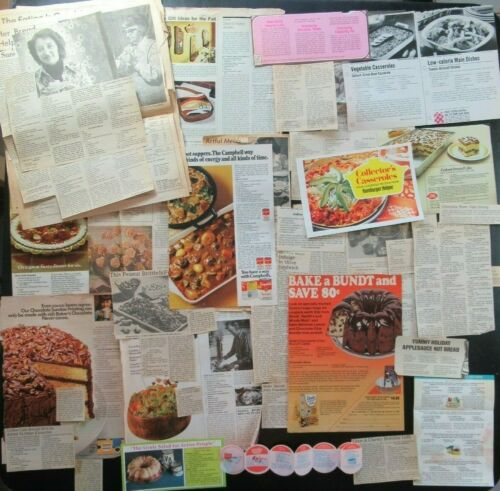 Vintage Clipped Estate Recipes Collection Lot 150+ 1970s