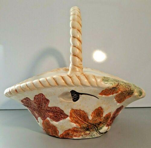 "Ceramic Basket With Handle 9"" Autumn Thanksgiving Decor Leaves Acorns GKAO VGUC"