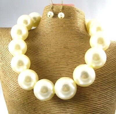 Chunky Gorgeous Pearl Beads Necklace Earring Set Costume Fashion (Gorgeous Pearl Set)