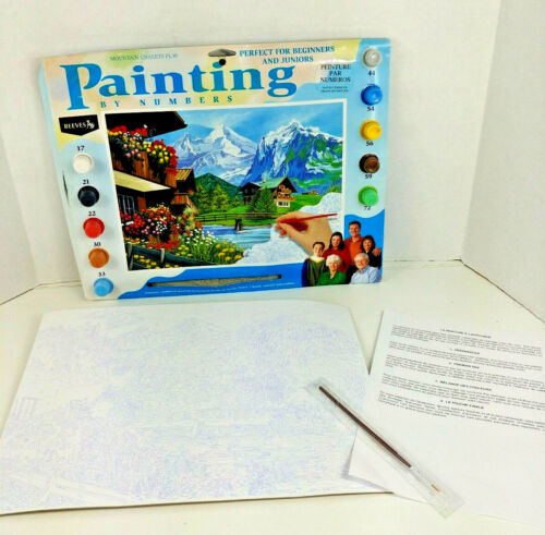 16 X 18 MOUNTAIN CHALET PAINT BY NUMBERS KIT BY REEVES PL30 ~ Vintage