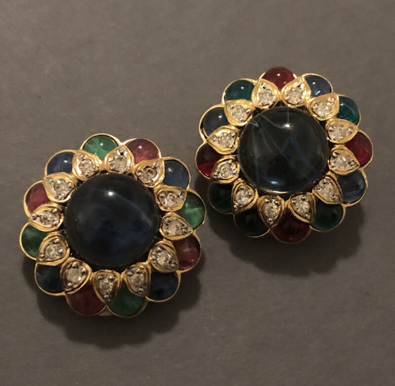 (INV# 701) - RARE VINTAGE CABOCHON JEWELED EARRINGS - VOGUE BIJOUX