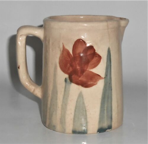 Owens Art Pottery Hand Decorated Lotus Pitcher