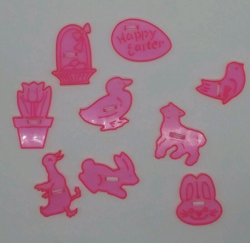 Lot of 9 Vintage HRM? Design Pink  Easter Florescent Plastic Cookie Cutters