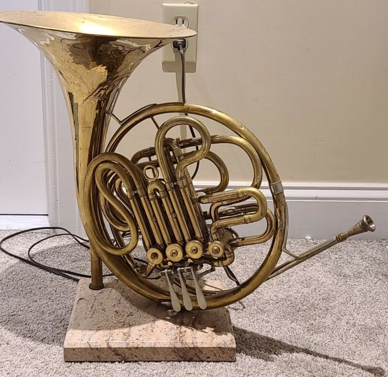 Vintage French Horn Table Lamp Made from Vintage C.G. CONN USA Brass French Horn