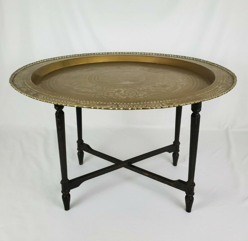 """Vintage Chinese Chippendale Folding Brass Tray Top Coffee Table MCM 33 34"""""""