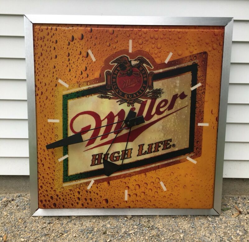 """Vintage Miller Beer Sign High Life Lighted Clock Huge 37"""" X 37"""""""