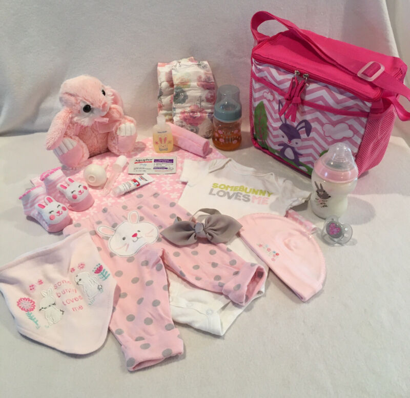 Reborn Baby Doll Bunny Diaper Bag W/outfit,bottles,pacifier&accs