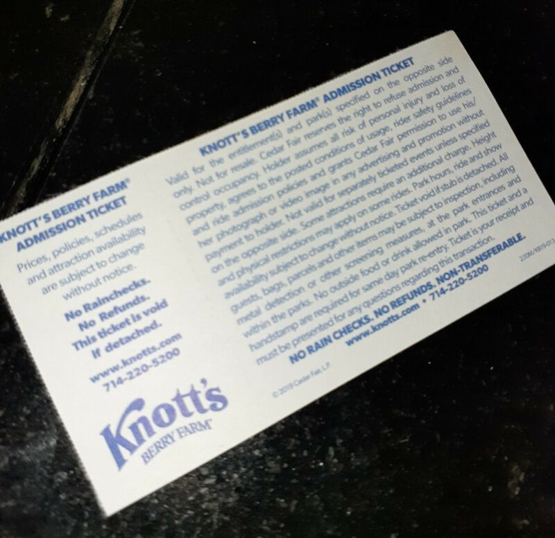 Knotts Berry Farm Admission Ticket youth or adult 6/30/20 Buena park california
