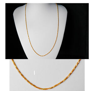 Gold Chain Men Womens 20 inch 18ct Gold Necklace 2mm thick Curb Chain  A8