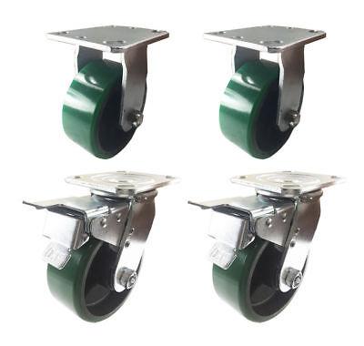 4 Caster 4 5 6 8 Polyurethane On Cast Iron Rigid Total Lock Brake Green