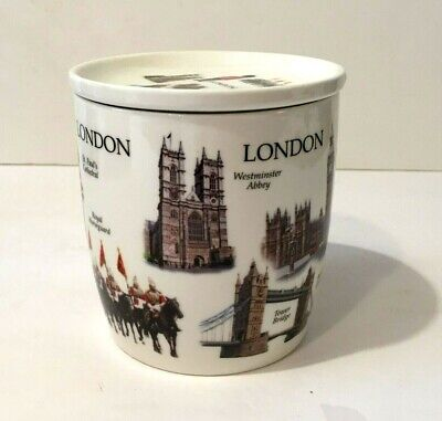 SCENES OF LONDON COFFE MUG W/ A COVER LAMBERT SOUVENIRS QUALITY FINE BONE CHINA