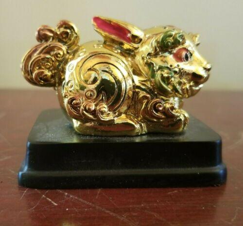 Feng Shui Gold Luck Chinese Rabbit Animal Figurine Statue Gold Feng Shui Zodiac
