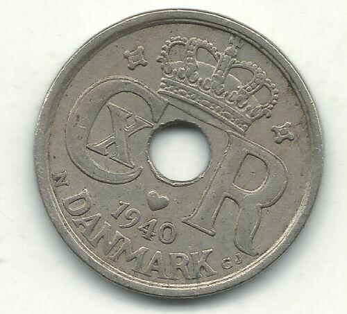 VERY NICE BETTER GRADE 1940 DENMARK 25 ORE COIN-JAN205
