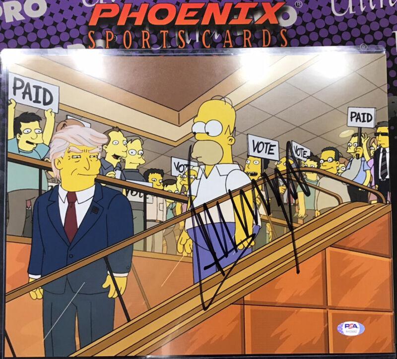 President Donald J Trump Autograph Signed 11x14 Photo Rare Simpsons PSA Sticker