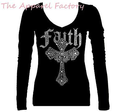 New Junior's Rhinestone FAITH CROSS Black V Neck Long Sleeve T Shirt Bling Tee