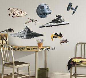 Star Wars Aircraft Destoryer Death Stars Wall Sticker Kids Boys Decal Art Mural