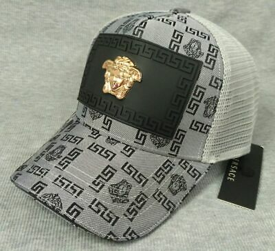 New Versace Logo Cap Mesh Golf Hat Gray Unisex
