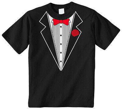 Kids Tuxedo Costume (Tuxedo Kids Youth T-Shirt Tee Tux Costume Faux Fake Classy Fancy Funny)