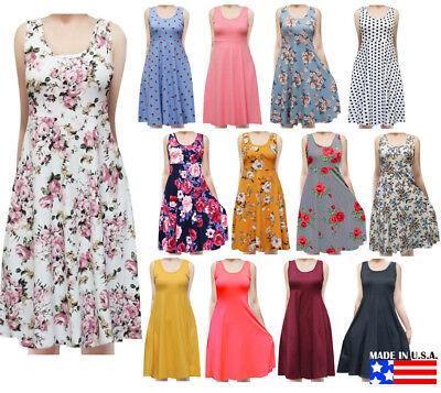 USA Women's Sleeveless Flowy Midi Summer Beach A Line Tank Dress S M L 1X 2X 3X