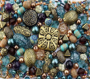 Approx-x-400-Jade-Green-Purple-Bronze-Tibetan-Jewellery-Making-Beads-Mix