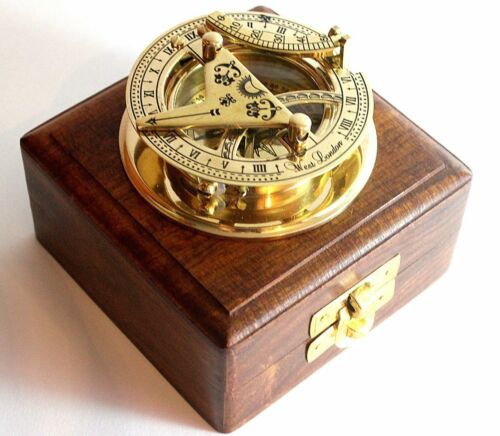 Brass Sundial Compass Brass Pocket Antique Sundial West London with Wooden Box