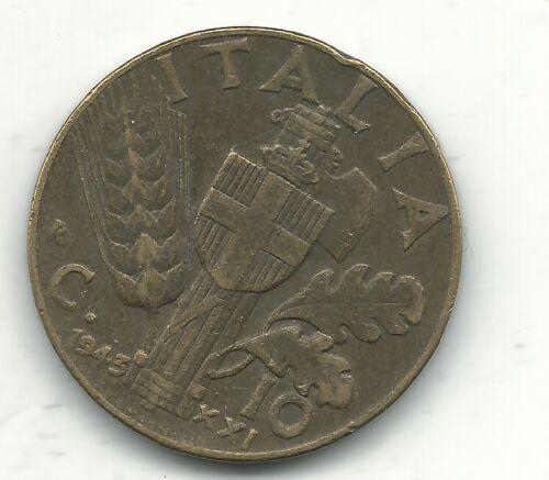A VINTAGE HIGH GRADE 1943 R 10 CENTESIMI ITALY COIN-FEB494
