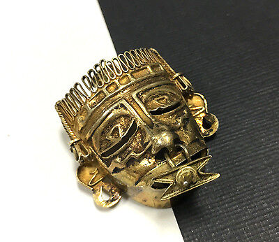 RARE & Unique Vintage MYAN 3-D TRIBAL MASK Dangle From Nose Brooch Gold S51i