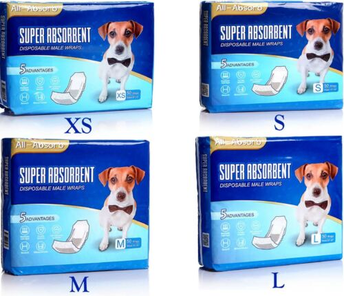 50 Pack Waist Disposable Dog Diapers Male Wraps Belly Bands Pet Soft X, S, M & L