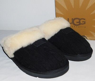 Used, NEW WOMENS SIZE 12 BLACK UGG COZY KNIT SHEEPSKIN FUR SLIPPERS SCUFFS SLIDES for sale  Ventura