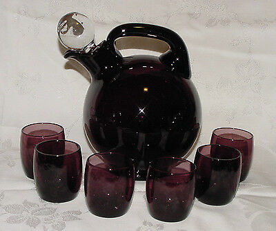 "PERFECT Vintage AMETHYST Cambridge ""BALL SHAPED"" Decanter & 6 Cordials!!"